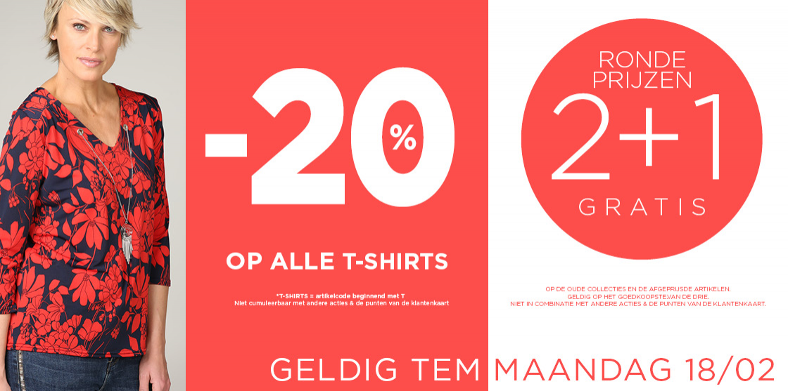 20% op alle t-shirts