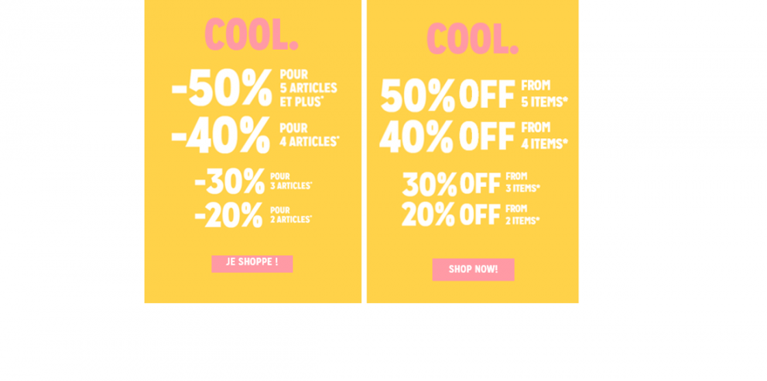 Cool. 50% off from 2 items and more !